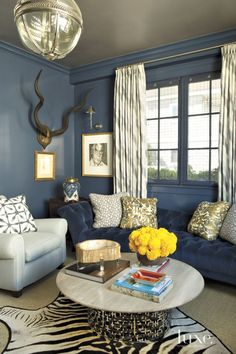 Contemporary Blue Lacquered Library