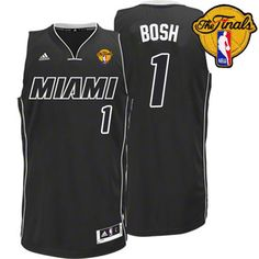 Adidas NBA Miami Heat 1 Chris Bosh White on Black Fashion Swingman Jersey 2012 NBA Finals Patch