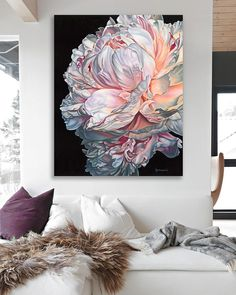 No photo description available. Peony Painting, Watercolor Flowers, Watercolor Art, Canadian Art, Arte Floral, Painting Techniques, Painting Inspiration, Diy Art, Wall Art
