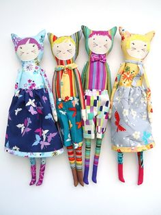 modflowers: gang of four: dolls in Sarah Campbell's Sea Holly fabrics