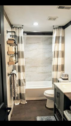 guest Bathroom Decor I hate plastic shower curtain liners but like the open concept Hall Bathroom, Upstairs Bathrooms, Bathroom Renos, Bathroom Vanities, Bathroom Ideas, Bathroom Shower Curtains, Bathroom Decor Ideas On A Budget, Small Bathroom Redo, Boys Bathroom Decor