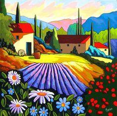 Clin d'oeil provencal by Louise Marion - Louise Marion, artiste peintre, paysage urbain, Quebec, couleurs