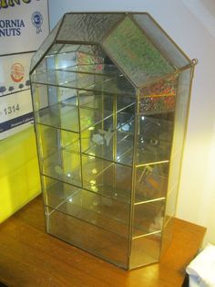 House Style Glass Brass CURIO CABINET TABLE TOP display case! #BV