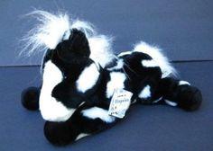 """Black White GERONIMO HORSE Aurora 12"""" Flopsies 06633 Plush Stuffed Animal"""