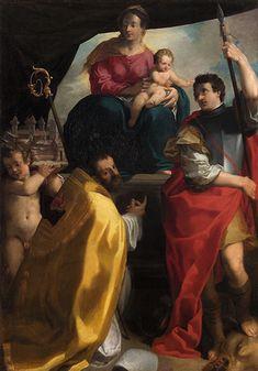 Carlo Bononi,Virgin Enthroned with Saints Maurelio and George,c.1604,Oil on canvas, cm 163x114,Vienna,Kunsthistorisches Museum, Gemäldegalerie.