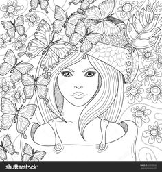 Anti Stress Coloring Book Page For Adult Image Of Beautiful GirlS Face In Hat With Flowers And Butterflies