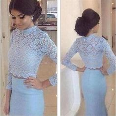 Long Sleeves Prom Dresses, Two Pieces Prom Dresses,Blue Long Prom Dresses,High Neck Prom Dresses,Party Prom Dresses,Evening Prom Dresses,Prom Dresses Online,PD0074