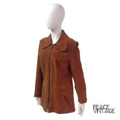 Vintage real suede jacket with zip front fastening and 60s peter pan style collar  Era: 60s  Measurements: (are taken with the garment laid flat
