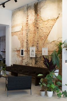Shopping in Antwerp at lifestyle concept store St Vincents. Love the exposed brick walls and potted house plants