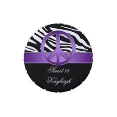 Purple Peace Sign Zebra Print Sweet 16