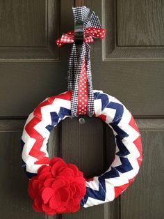 Navy  red and white Chevron Patriotic by PolkadotsOriginals