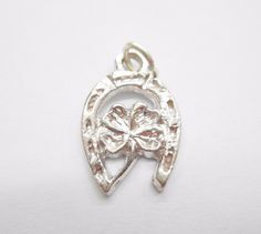 Genuine 925 Sterling Silver Horseshoe Clover Charm ~ Lucky ~ Small ~ #3000