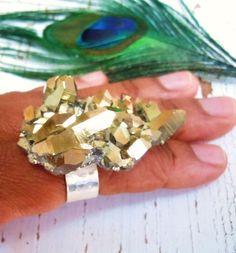 Gold Druzy Ring  Raw Crystal Quartz Cluster  Galaxy by NaturalGlam, $70.00