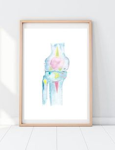Knee Anatomy Abstract Art Print, a beautiful and energetic anatomy print for orthopedic and physical therapist offices. Medical Gifts, Medical Art, Abstract Watercolor, Abstract Art, Human Anatomy Drawing, Physical Therapy, Fine Art Paper, Surgery, Bones