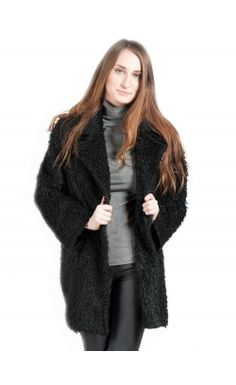 A stone cold jacket. An amazing vintage style black faux fur jacket this fall 2014. #fashion #mypinkmartini #style #girl #vintageinspired