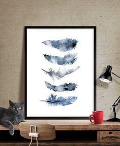 Aquarell-Feder-Kunstdruck Wall Art Poster von FineArtCenter auf Etsy