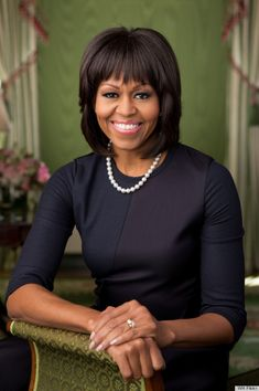 Michelle Obama's portrait, her official photo of President Obama's second term, was released by the White House on Wednesday. The photo, taken by Chuck Kennedy, shows FLOTUS in the Green Room of the White House leaning against a green chair, a lovely contrast to her dark two-toned dress.