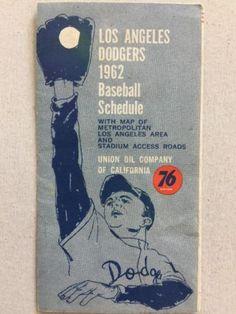 1962 LA L.A. LOS ANGELES DODGERS MLB BASEBALL POCKET SCHEDULE RARE VINTAGE OLD please retweet