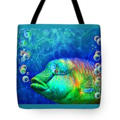 Parrotfish - Rainbow Spirit Tote Bag by Carol Cavalaris
