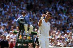 Gentlemen's Semi-Finals: Djokovic vs. Dimitrov: Novak Djokovic celebrates towards his team - Day 11