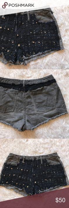 "• Free People • Jewel Crochet Shorts Crochet & jewel detail \\ 16"" waist  \\ 11"" rise  \\ 2"" inseam   \\ HighWaisted Free People Shorts Jean Shorts"