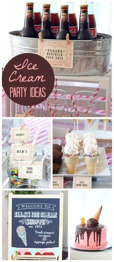 An old fashioned ice cream shoppe girl birthday party with a build your own sundae bar! See more party planning ideas at CatchMyParty.com!