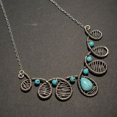Silver Statement Necklace Turquoise Necklace Turquoise