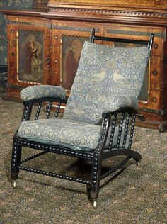 Morris Adjustable Back Chair; Utrecht Velvet Uplholstery. Designed by Philip Webb & William Morris c.1870. V&A