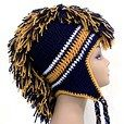 Crochet Mohawk Hat - Navy Blue and Gold