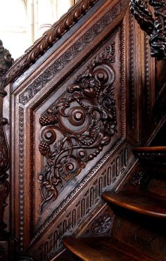 Stairs Architecture, Architecture Details, Balcony Grill Design, Wooden Stairs, Victorian Decor, Wood Creations, Medieval Castle, Colour Board, Egyptian Art