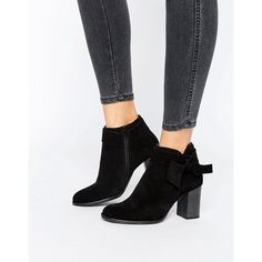 Vero Moda Suede Bow Heel Boot (1.301.130 VND) ❤ liked on Polyvore featuring shoes, boots, ankle booties, black, black suede booties, black high heel booties, black suede boots, high heel boots and suede ankle booties