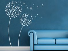 Tier Wandtattoo Blüten Schmetterlinge in weiß