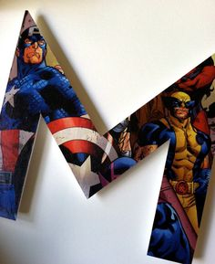 superhero letters- I could make these wayyyy cheaper for my boys. Thank you, Mod Podge!
