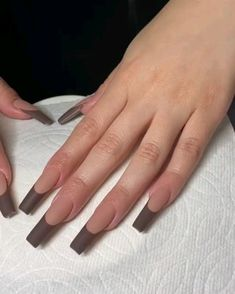 Brown french tip coffin nails