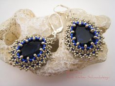 Purple Earrings with Swarovski Tear Drops, Beadwoven Dangles Silver and Dark Purple, Elegant Earrings Sterling Silver Hooks, Purple Jewelry