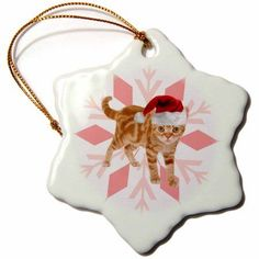 3dRose Orange Tabby Cat in a Red Santa Hat Christmas Snowflakes, Snowflake Ornament, Porcelain, 3-inch
