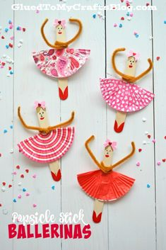 DIY Popsicle Stick Ballerinas - Kid Craft...... Tutu from cupcake wrappers.....cute cute!