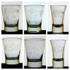Glass Etching - Etched shot glasses - Kansas State and Oklahoma State Oklahoma, Kansas, Shot Glasses, Glass Etching, Pint Glass, Beer, Tableware, Projects, Shot Glasses Display