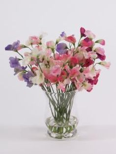 Gorgeous artificial Sweet Pea vase display, £45.00 & Free Delivery  Very popular, our replica / 'silk' sweet pea vase makes the most beautiful display for just about any area.  They also make wonderful gifts for those people who seem to have everything.  Filled to the brim with a colourful mix of natural shades, and set into our 'magic water' - a solid resin that appears just like water.  Overall height approx 30cm.