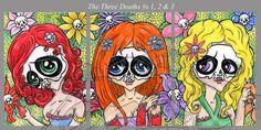 ACEO ORIGINAL Paintings Lot Set 3 Art Cards Day Dead Fowers Skull Girls TanDoll #Miniature