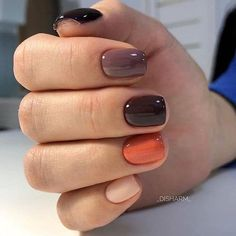 Catch the inspiration portion to a beautiful design manicure short nails! More than 50 ideas trendy manicure on short and very short nails Pretty Nail Colors, Fall Nail Colors, Pretty Nails, Warm Colors, Dark Nail Designs, Fall Nail Art Designs, Short Nail Designs, How To Do Nails, My Nails