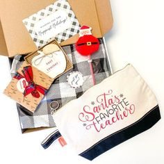 You're going to love this teacher holiday gift box - the perfect teacher gift for a teacher thank you this holiday season and a great teacher gift under $30! We created these teacher gifts with the busy holiday season in mind! Everything you need is included this teacher gift box is ready to gift upon receiving it. If you're looking for more teacher gifts ideas and teacher gifts for 2020 - you'll love our personalized teacher gifts for Christmas that they'll love. #teachergifts #christmasgifts Teacher Ornaments, Teacher Christmas Gifts, Holiday Gifts, Christmas Decor, Christmas Ideas, Personalized Teacher Gifts, Bridesmaid Proposal Box, Neighbor Gifts, Teacher Favorite Things