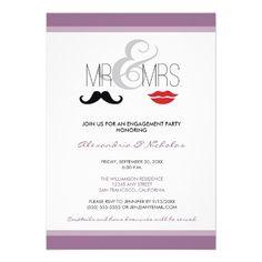 Mr.  Mrs. Engagement Party Invitation (lavender) #purplewedding #weddings #engagementparty