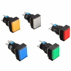 16mm DC 12V Push Button Self Lock Switch Square LED Light Latching Button