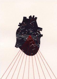 Custom \/ Commission Original 5 x 7 - Star Map Heart