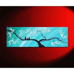 """【nathalievanart】さんのInstagramをピンしています。 《Turquoise Love Birds in a Cherry Blossom Tree Painting by Nathalie Van Bird Family Painting Original Modern Textured Tree Blossom Art Blue Sky on Stretched Canvas Custom Personalized 48x24 TO BUY: Comment with your email address, and you'll receive a secure checkout link. Price: US$245.00. This listing is for a custom version of this painting. """"Just our Family"""" features two love birds their little brood and is painted in beautiful shades of blues. ..."""