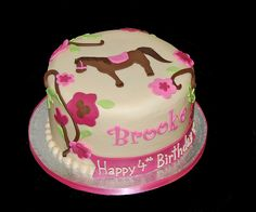 birthday horse cake with flowering vines to coordinate with partyware 4th Birthday Cakes For Girls, Birthday Ideas, 8th Birthday, Cupcakes, Cupcake Cakes, Horse Theme Birthday Party, Horse Party, Horse Cake, Sweets Cake