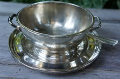 Canadian Pacific Railway one piece silver soup bowl with attached tray, CPR soup spoon Canadian National Railway, Canadian Pacific Railway, Spoon, Trains, Tea Cups, Restaurant, Tableware, Silver, Dinnerware