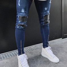 Blue Hem Zipper Stretch Knee Ripped biker Jeans Men Hole Hip Hop Brand Clothing Skinny Jeans Fashion Brand Men pants 2017 New Ripped Biker Jeans, Superenge Jeans, Trouser Jeans, Hip Hop Jeans, Slim Fit Trousers, Super Skinny Jeans, Skinny Fit, Vintage Denim, Streetwear