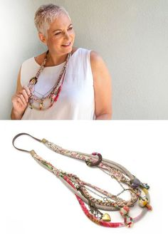 Textile layered Statement necklace   colorful long by ATLIART
